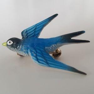 Blue bird brooche